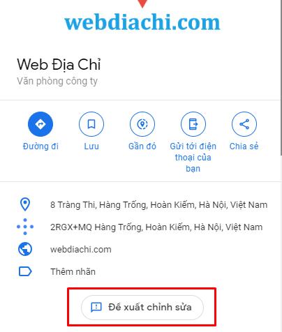Thay đổi thông tin doanh nghiệp trên google map